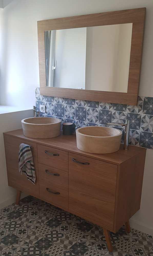 Meuble salle de bain décor bois