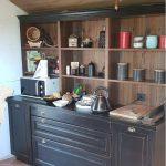 Buffet de cuisine, niche stratifié chêne naturel effet poutre